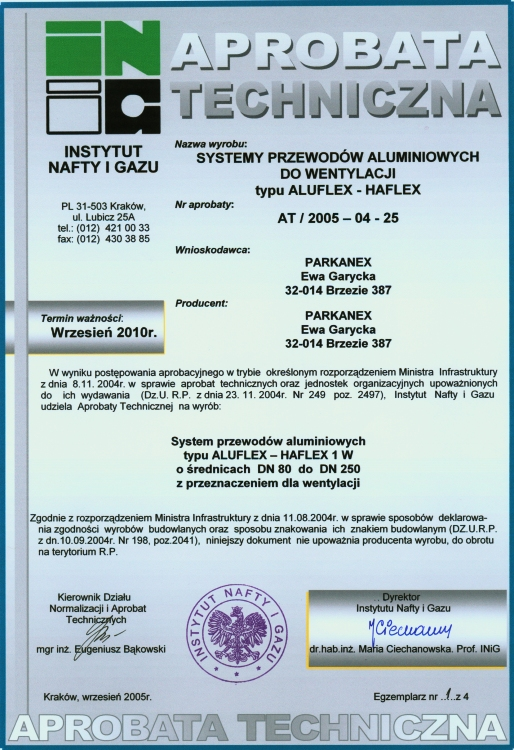 ALU toru ALUFLEX sertifikaat Aprobata